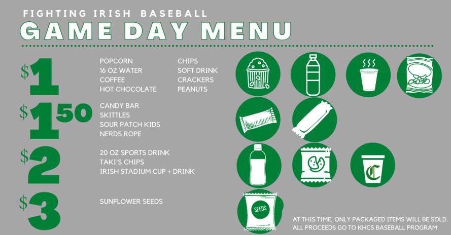 Knox Catholic Baseball game day concessions